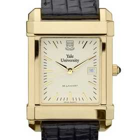 615789410416: Yale Men's Gold Quad Watch W/ Leather Strap