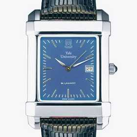 615789410430: Yale Men's Blue Quad Watch W/ Leather Strap