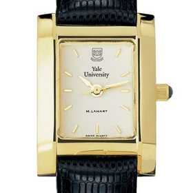 615789410454: Yale Women's Gold Quad Watch W/ Leather Strap