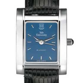 615789410478: Yale Women's Blue Quad Watch W/ Leather Strap