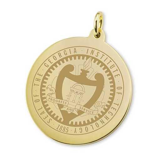 615789291244: Georgia Tech 14K Gold Charm by M.LaHart & Co.
