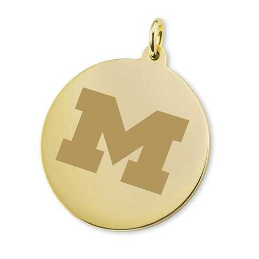 615789431640: Michigan 14K Gold Charm by M.LaHart & Co.