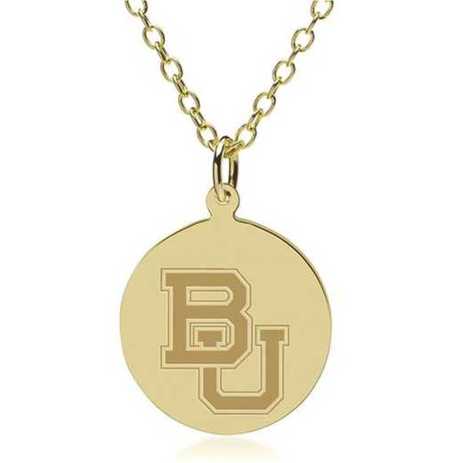 615789846949: Baylor 14K Gold Pendant & Chain by M.LaHart & Co.