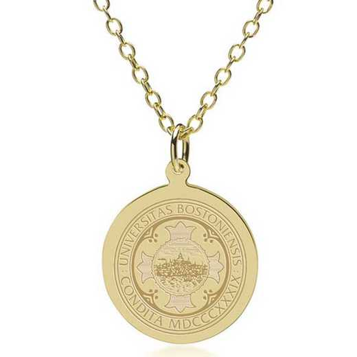 615789032625: Boston University 14K Gold Pendant & Chain by M.LaHart & Co.