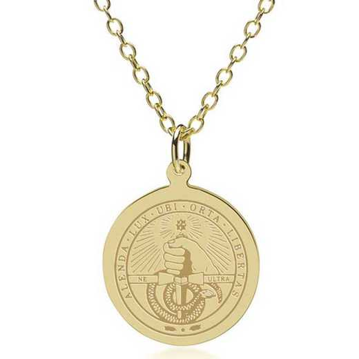 615789545750: Davidson College 14K Gold Pendant & Chain by M.LaHart & Co.