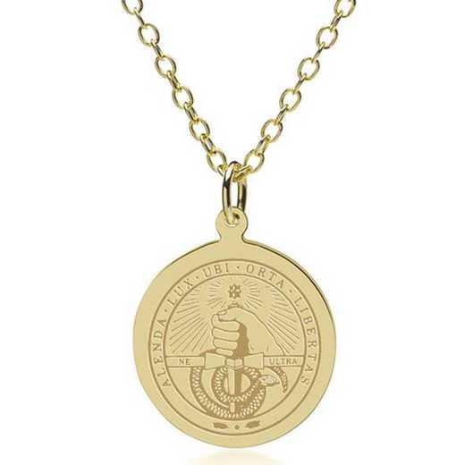 615789545750: Davidson College 14K Gold Pendant & Chain by M.LaHart & Co.