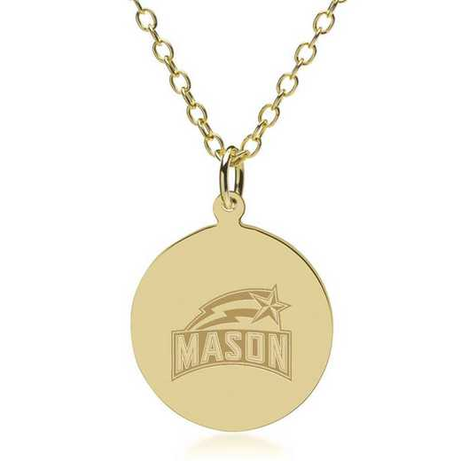 615789646266: George Mason University 14K Gold Pendant & Chain by M.LaHart & Co.