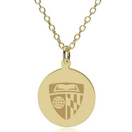 615789471318: Johns Hopkins 14K Gold Pendant & Chain by M.LaHart & Co.