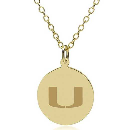 615789215912: Miami 14K Gold Pendant & Chain by M.LaHart & Co.