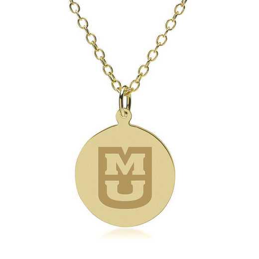 615789193449: University of Missouri 14K Gold Pendant & Chain by M.LaHart & Co.