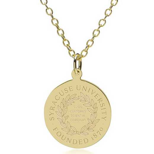 615789218265: Syracuse University 14K Gold Pendant & Chain by M.LaHart & Co.