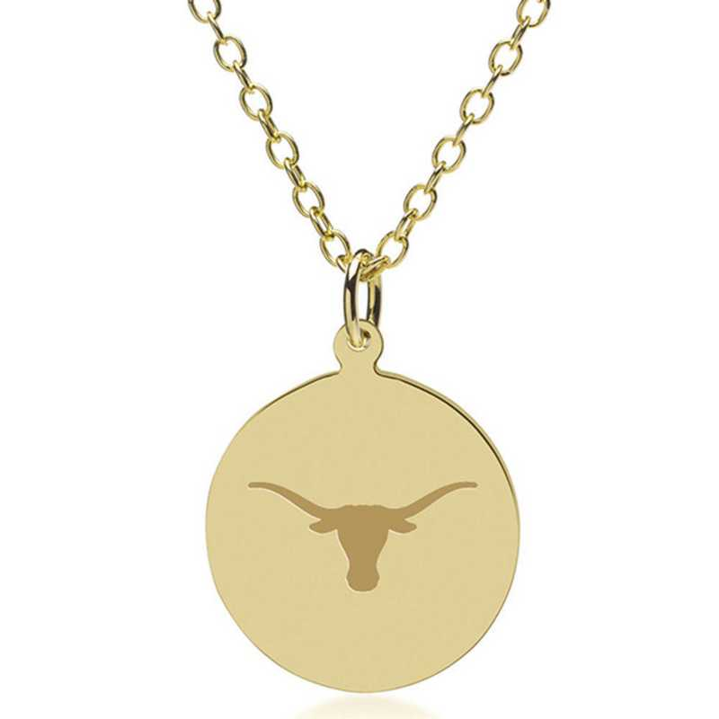615789799276: University of Texas 14K Gold Pendant & Chain by M.LaHart & Co.