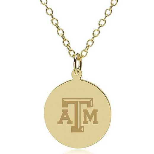 615789169642: Texas A&M University 14K Gold Pendant & Chain by M.LaHart & Co.