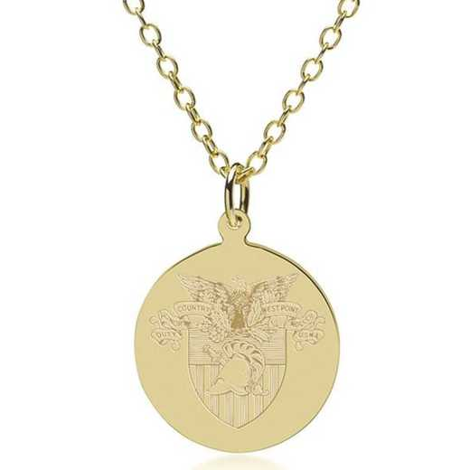 615789469636: West Point 14K Gold Pendant & Chain by M.LaHart & Co.