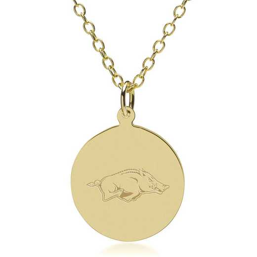 615789549246: University of Arkansas 18K Gold Pendant & Chain by M.LaHart & Co.