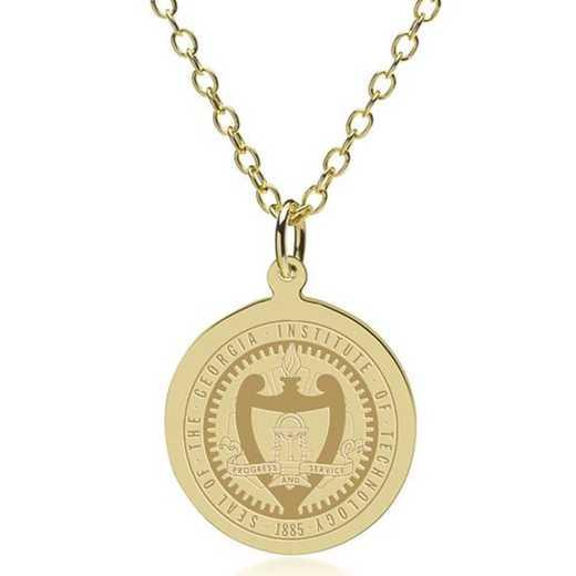 615789241478: Georgia Tech 18K Gold Pendant & Chain by M.LaHart & Co.