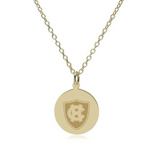 615789619864: Holy Cross 18K Gold Pendant & Chain by M.LaHart & Co.