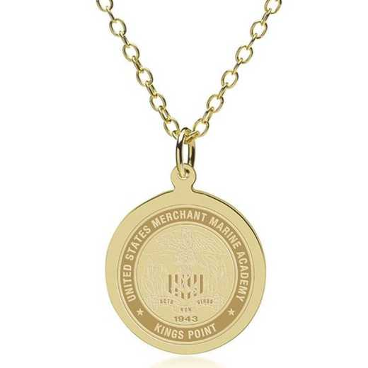 615789649885: USMMA 18K Gold Pendant & Chain by M.LaHart & Co.