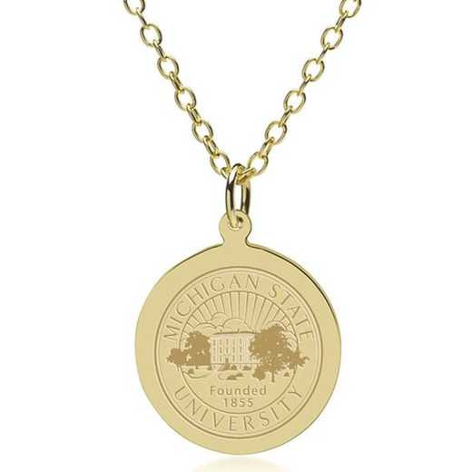 615789621461: Michigan State 18K Gold Pendant & Chain by M.LaHart & Co.