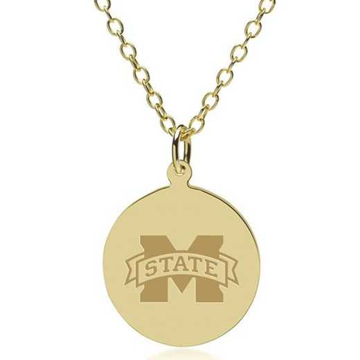 615789763727: Mississippi State 18K Gold Pendant & Chain by M.LaHart & Co.