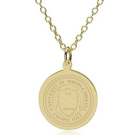 615789645054: North Carolina 18K Gold Pendant & Chain by M.LaHart & Co.