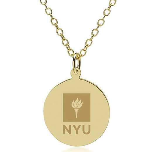 615789285700: NYU 18K Gold Pendant & Chain by M.LaHart & Co.