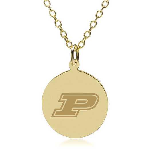 615789254072: Purdue University 18K Gold Pendant & Chain by M.LaHart & Co.