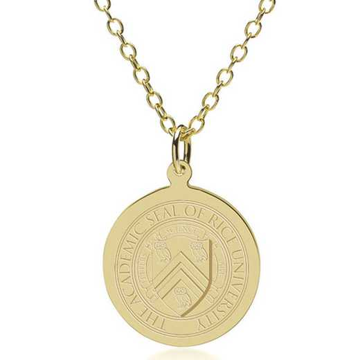615789095163: Rice University 18K Gold Pendant & Chain by M.LaHart & Co.