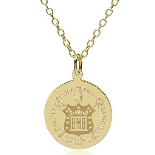 615789341062: Trinity College 18K Gold Pendant & Chain by M.LaHart & Co.