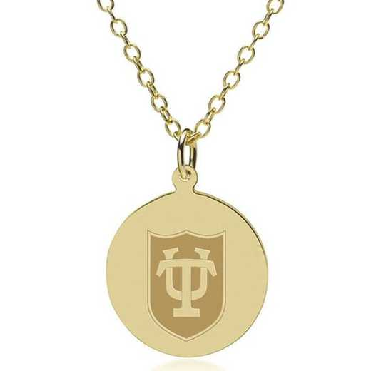 615789400400: Tulane 18K Gold Pendant & Chain by M.LaHart & Co.