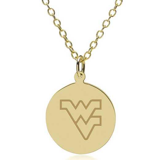 615789093763: West Virginia University 18K Gold Pendant & Chain by M.LaHart & Co.