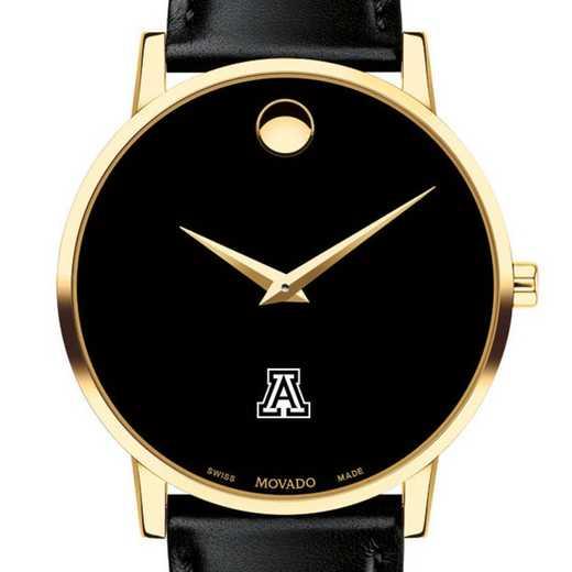 615789102960: Univ of Arizona Men's Movado Gold Museum Classic Leather