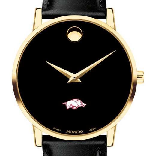615789619604: Univ of Arkansas Men's Movado Gold Museum Classic Leather
