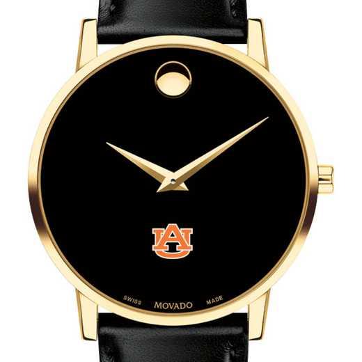 615789976356: Auburn Univ Men's Movado Gold Museum Classic Leather
