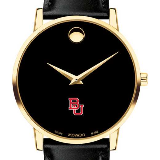 615789740575: Boston Univ Men's Movado Gold Museum Classic Leather