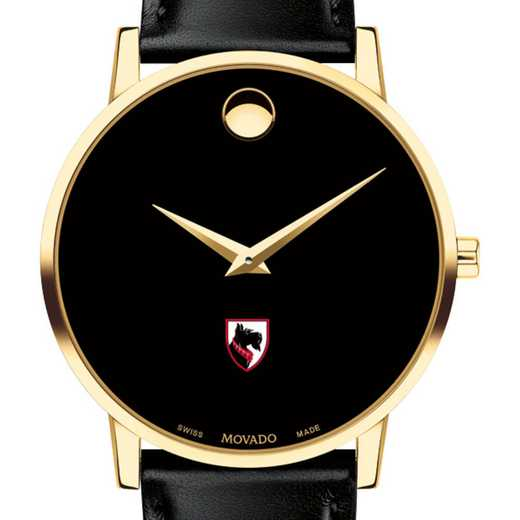615789271413: Carnegie Mellon Univ Men's Movado Gold Museum Classic Leather