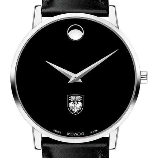 615789061250: Univ of Chicago Men's Movado Museum w/ Leather Strap