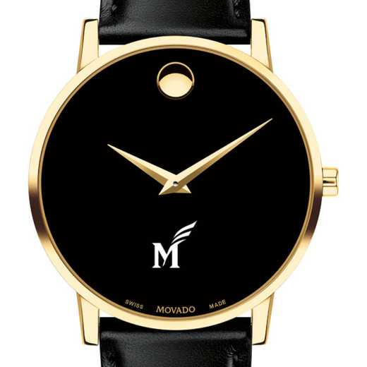 615789593775: George Mason Univ Men's Movado Gold Museum Classic Leather