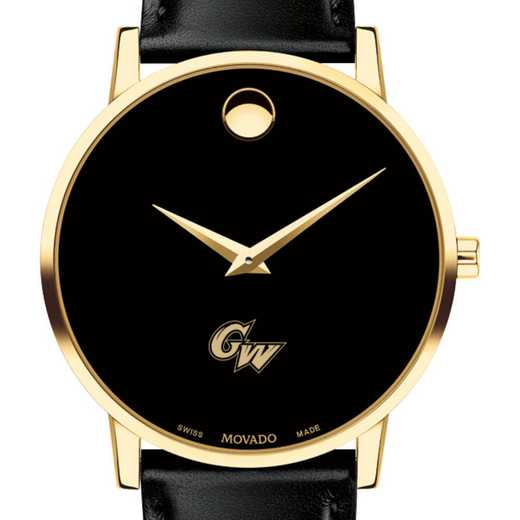 615789161141: George Washington Univ Men's Movado Gold Museum Classi Lther