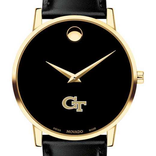 615789960935: Georgia Tech Men's Movado Gold Museum Classic Leather