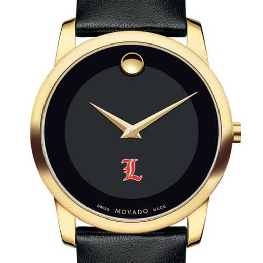 615789731283: Uni of Louisville Men's Movado Gold Museum Classic Leather