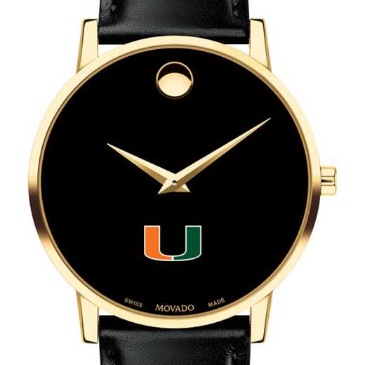 615789448679: University of Miami Men's Movado Gold Museum Classic Leather