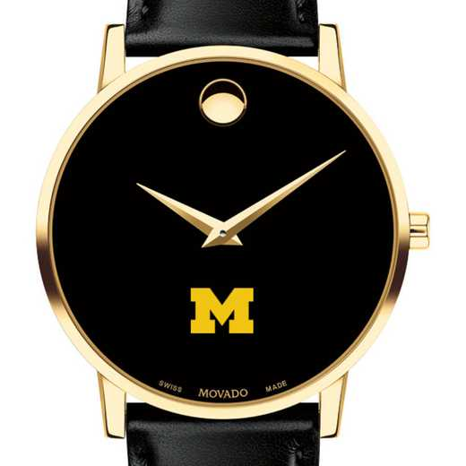 615789880868: Univ of Michigan Men's Movado Gold Museum Classic Leather