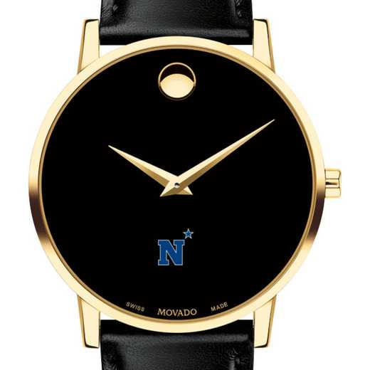615789725558: US Naval Academy Men's Movado Gold Museum Classic Leather