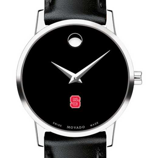 615789130741: North Carolina State Women's Movado Museum w Leather Strap