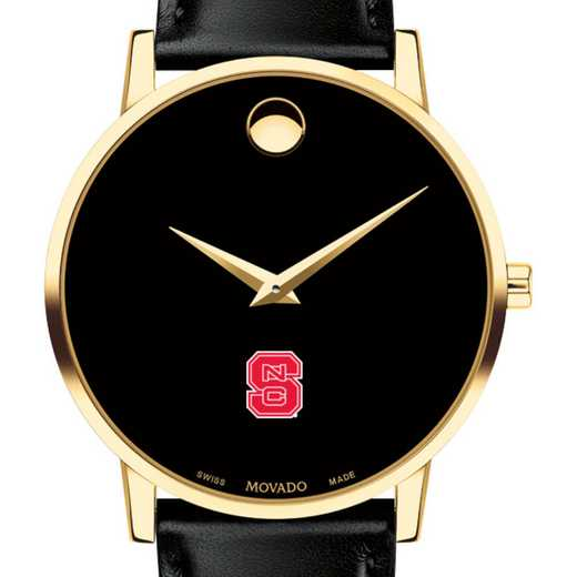 615789661016: North Carolina St Men's Movado Gold Museum Classic Leather