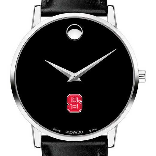615789738985: North Carolina State Men's Movado Museum with Leather Strap