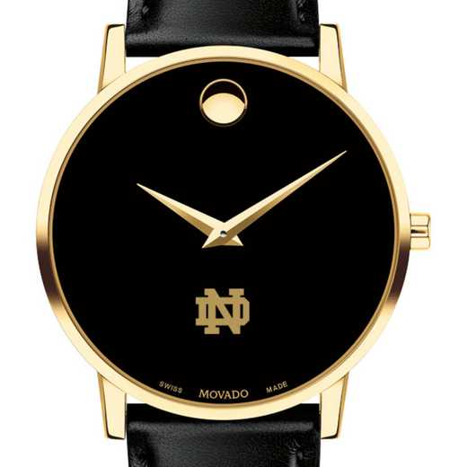 615789706960: U of Notre Dame Men's Movado Gold Museum Classic Leather