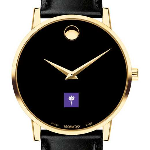 615789249054: New York U Men's Movado Gold Museum Classic Leather