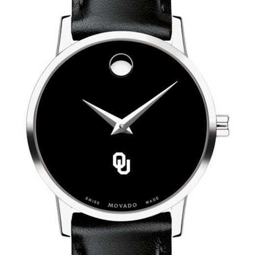 615789413745: Univ of Oklahoma Women's Movado Museum w Leather Strap